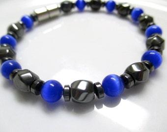 Magnetic Bracelet, Magnetic Therapy Bracelet, Royal Blue Cats Eye Bracelet