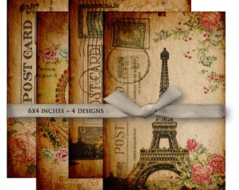 Digital Collage Sheet Download - Vintage Paris Postcards -  1044  - Digital Paper - Instant Download Printables