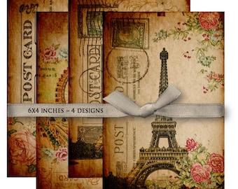 Digital Images - Digital Collage Sheet Download - Vintage Paris Postcards -  1044  - Digital Paper - Instant Download Printables