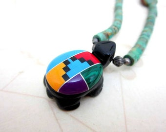 """CLEARANCE SALE Native American Zuni turtle fetish turquoise and onyx inlaid necklace - 20"""" long"""