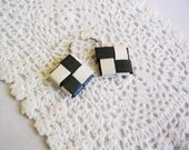 Black and White Origami Earrings- Lock Weave Iridescent Paper Jewelry