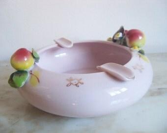 Lefton Pink Ash Tray Geo Z Lefton Apple Blossom Hand Painted Copyright 1955 Lefton China