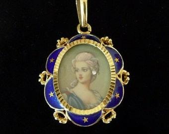 14k Gold Enamel Pendant Miniature Diamond Accent Cobalt Blue Hand Painted Portrait Antique