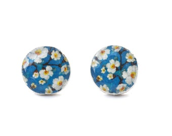 Blue Floral Stud Earrings. Blue Stud Earrings. Blue Post Earrings. Blue Flower Earrings. Wood Earrings. Starlight Woods