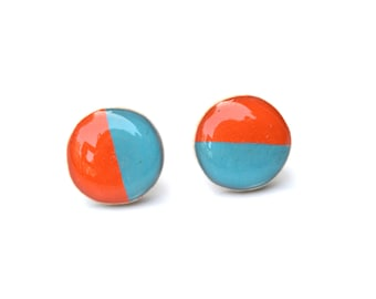 Two tone studs orange and teal post earrings recycled geometric jewelry eco friendly jewelry, wood earrings, minimalist jewelry