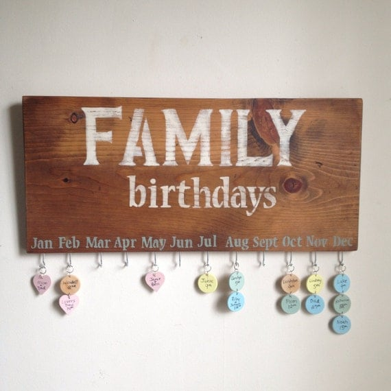 Family Calendar Wall : Family birthday calendar rustic wall hanging sign by