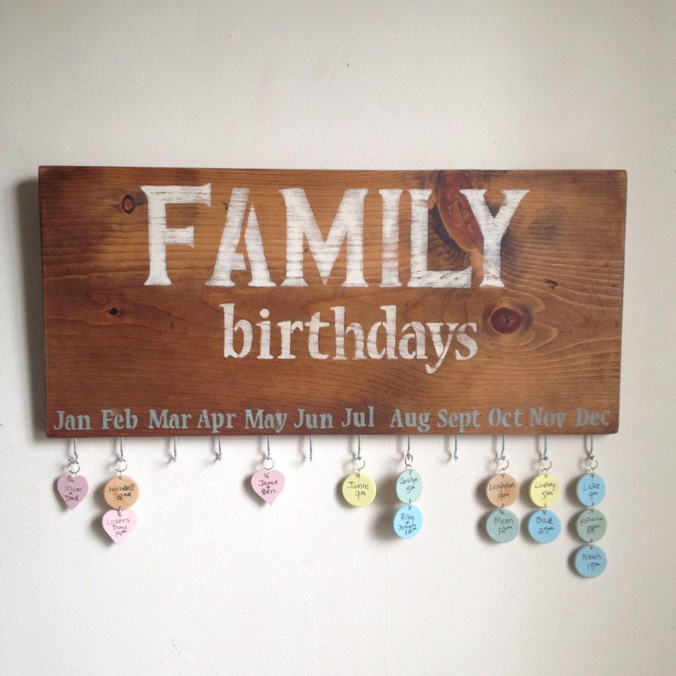 Family Calendar Wall : Family birthday calendar rustic wall hanging sign