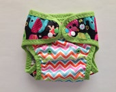 Fancy Pants Elephants and Rainbow Chevron Swim Diaper with FOE and leg gussets (M-L).  Made to Order