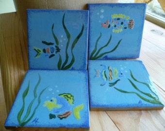 Vintage Italian Hand Painted Tiles x 4 Exotic Tropical Fish Bathroom Glazed Tiles Decoration