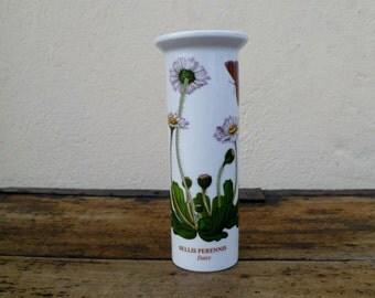 Vintage British Portmeirion Botanic Garden Bud Vase Daisy and Butterfly Botanical Print Design Ideal Naturalist Gift