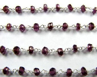 Red Garnet Rosary Chain 1 1/2 Ft Sterling Silver Wire Chain 3.5mm Faceted Semiprecious Gemstone Beads Take 10% Off Jewelry Craft Supplies