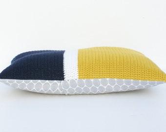 Modern colour block crochet cushion