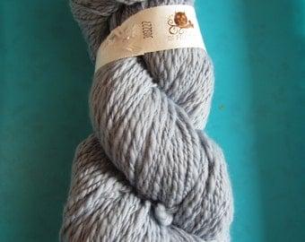 Hand spun merino yarn - soft grey - sport weight/dk