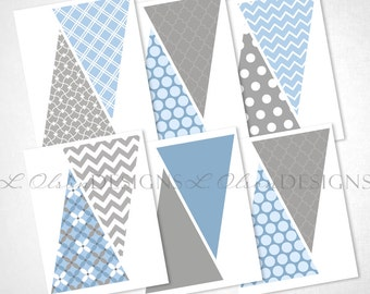 Blue and Gray Pennant Banner - DIY Printable - INSTANT DOWNLOAD