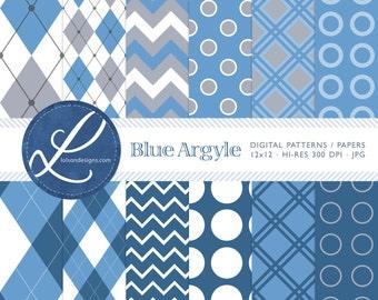 Blue Argyle Paper Pack - 12 digital paper patterns - INSTANT DOWNLOAD
