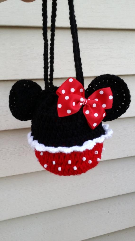 Free Crochet Mickey Mouse Purse Pattern : Minnie mouse polka dot crochet girl purse handbag and hair