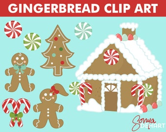 80% OFF Sale Christmas Clipart Gingerbread House With Man Woman Candy and Cookies