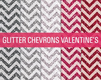 80% OFF Sale Glitter Digital Paper Valentine's Day Chevron Textures Paper Pack