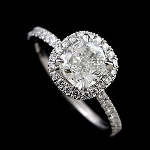 Cushion Halo Engagement Ring Cut Down Micro Pave Set Diamond