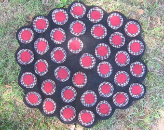 Red & Black Penny Rug Table topper