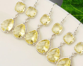 Yellow Earrings - SET OF 4 Yellow Bridesmaid Earrings - Silver Yellow Bridesmaid Jewelry Set - Silver Citrine Earrings - Wedding Jewelry