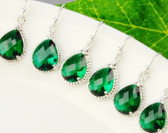 Emerald Green Bridesmaid Earrings Set of 6 - 15% OFF Silver and Glass Drop Earrings - Wedding Jewelry - Bridesmaid Gift - Bridal Jewelry