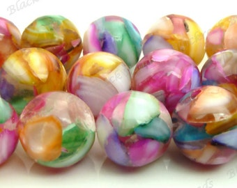 10mm Multicolored Rainbow Mother of Pearl and Resin Round Beads - 15.5 Inch Strand - Tropical, Pink, Red, Purple, Blue, Yellow, Mosaic - BP9