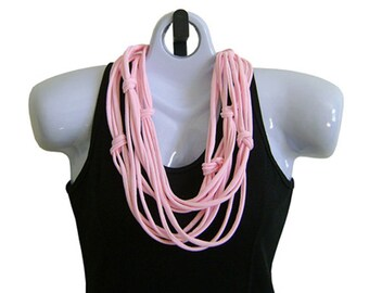 FABRIC NECKLACE, Pale Pink, Tshirt Scarf, Recycled fabric. Ready to Ship (See Pic #5 for Styling Options)