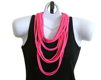 Bright Pink FABRIC NECKLACE, Tshirt Scarf, Recycled fabric. Ready to Ship. (See Pic #5 for Optional Styling)