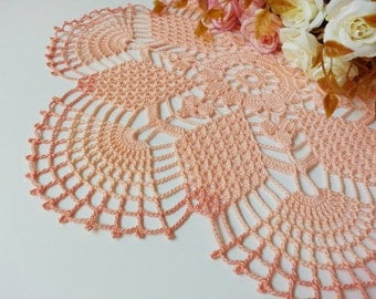 Round Crochet Doily, Peach Lace Doily, Daisy Flower Design, Tablecloth, Crocheted Place Mat, Home Decor, Bridal Shower Gift