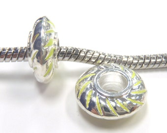 3 Beads - Neon Yellow Stripe Enamel Barrel Silver European Bead Charm E1076