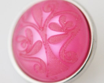 1 PC 18MM Pink Scroll Resin Silver Snap Candy Charm KB3483 Cc0091