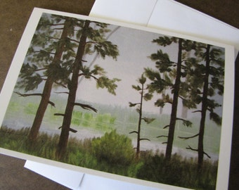 Spring Fed pond pines foggy forest Fall FIne Art Any Occasion blank Greeting Card 5x7 with envelope