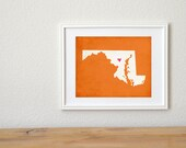 Maryland Silhouette State Map Personalized Art Print