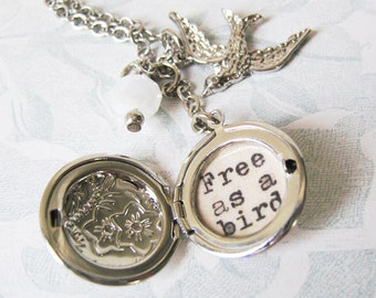 beatles inspirational necklace locket  jewelry with free as a bird  quote pendant beatles song locket with message