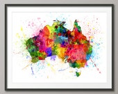 Australia Paint Splashes Map, Art Print (1054)