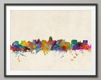 Madison Skyline, Madison Wisconsin Cityscape Art Print (973)