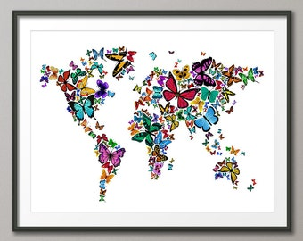 Butterflies Map of the World Map, Art Print (448)