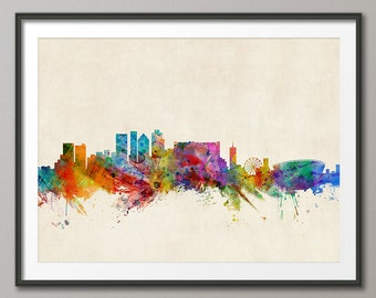 Cape Town Skyline, Cape Town South Africa Cityscape Art Print (367)
