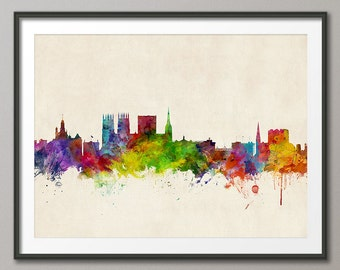 York Skyline, York England Cityscape Art Print (1012)