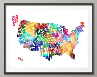 United States Typography Text Map, Art Print (1044)