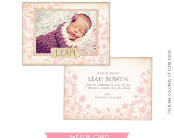 INSTANT DOWNLOAD - Birth announcement template - Flower nest - E271