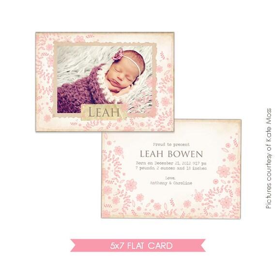 INSTANT DOWNLOAD - Birth announcement template - Flower nest - E271
