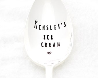 Personalized Ice Cream Spoon. Custom stamped spoon with your name. Stamped silverware by Milk & Honey ® Customized Spoon