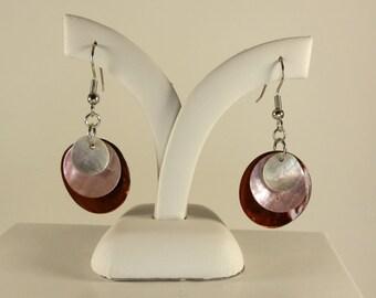 Pink, Brown & White Earrings