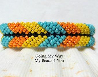 Beaded Bracelet, Beadwork Bracelet, Seed Bead Bracelet,Bracelet, Beadwoven Bracelet, Friendship Bracelet, Turquoise Bracelet, MyBeads4You