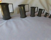 Set Of  Six French 19th Century Pewter Measures