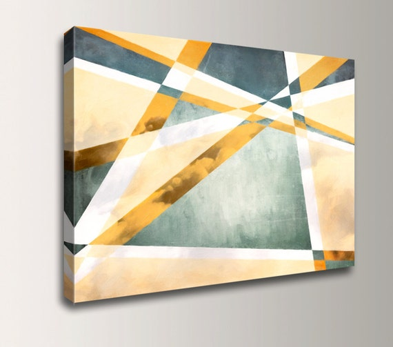 "Abstract Painting - Geometric Art - Canvas Print - Yellow Gold Grey Blue and Green Wall Art - Large Home Decor - "" Flight """