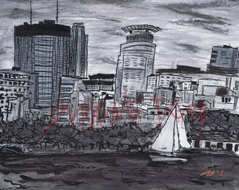 Minneapolis Print: Twin Cities Cityscape featuring Minneapolis Lake Calhoun and Sailboat , 8X10