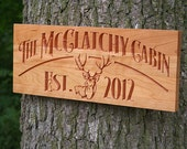 Custom Cabin Signs, Lake House Signs, Rustic Last Name Signs, Benchmark Custom Signs Cherry JD
